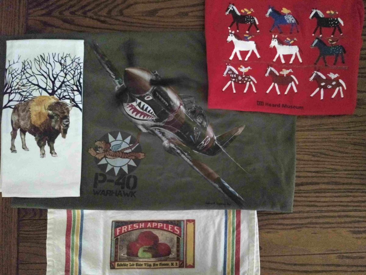 T-shirts and tea towels: National Cowboy Museum, National WWII Museum, Heard Museum, Sabbathday Lake Shaker Village