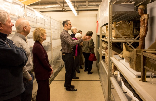 Associate Director of Education, Jonathan Goodrich, leads a members' tour of the collection facility at Kroeber Hall.